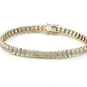 1.00 TCW NATURAL DIAMOND LINK BRACELET 14K 925